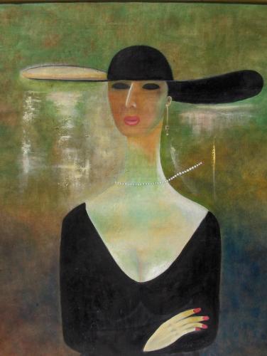 Kvinna i svart hatt